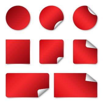 빨간 종이 스티커. 삽화