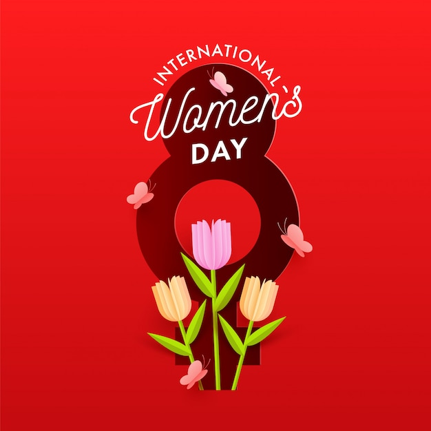 Red paper style 8 number with female gender symbol background decorated tulip flowers and butterflies for international women's day celebration concept.