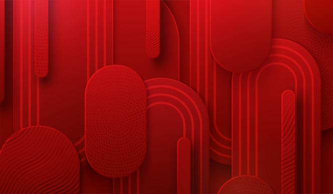 빨간 papercut 배경입니다. 3d 그림. 추상적 인 기하학적 계층 배경입니다. 패턴으로 질감 종이 모양. 미니멀리스트 커버 디자인