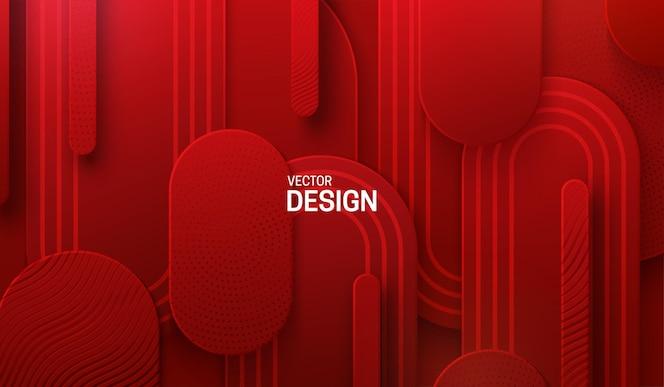 红色剪纸背景,带有雕刻图案纹理的抽象几何形状