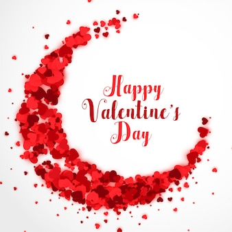 Red papercut hearts in cresent shape valentines day background