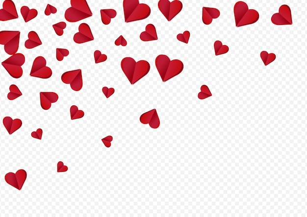 Red papercut vector transparent backgound. paper hearts illustration. burgundy fly confetti concept.