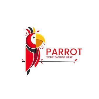 Красный попугай абстрактный логотип