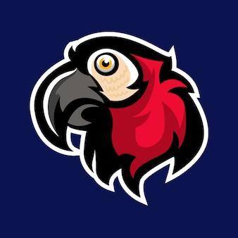 赤いオウムのマスコットのロゴ