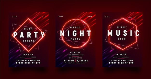 Red party flyer with geometric shapes in neon.