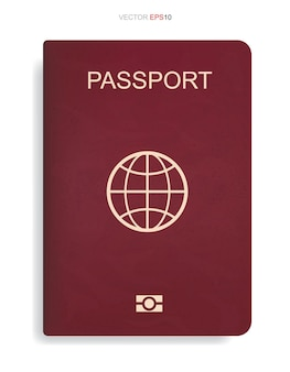 Red passport isolated on white background. vector illustration.