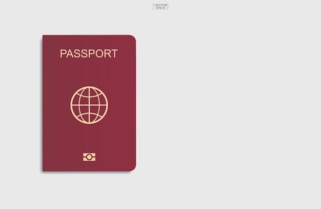 Red passport on white background. vector illustration.