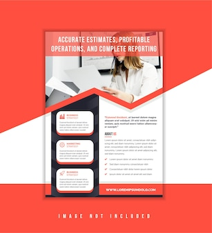 Red pastel combined with dark blue abstract flyer template design with profitable operation