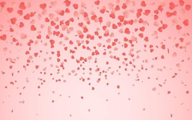 무작위 떨어지는 하트 색종이의 붉은 패턴. 축제 배너, 인사말 카드, 엽서, 청첩장, 발렌타인 데이에 대한 테두리 디자인 요소와 날짜 카드를 저장합니다.