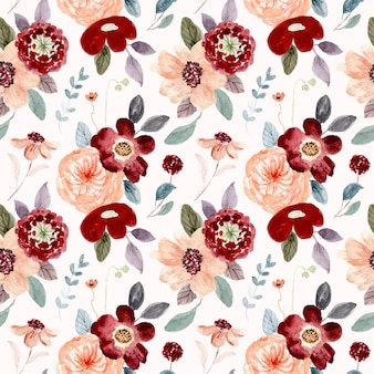 Red peach floral watercolor seamless pattern