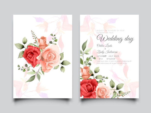 Red and peach roses bouquet with artistic background wedding card set template