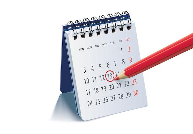 중요 이벤트를 상기시키고 표시하기 위해 달력 페이지에 빨간색 연필.