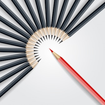 Red pencil standing out from crowd out from black pencil. business success leadership concept