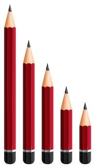 異なるサイズの赤い鉛筆