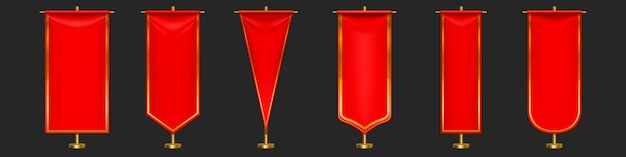Red pennant flags different shapes on gold pillar.