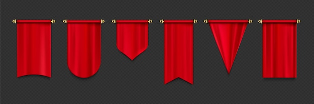 Red pennant flags mockup