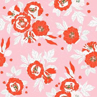 赤い牡丹oピンクのシームレスなパターン。花柄ヴィンテージソフトテキスタイルパターン。