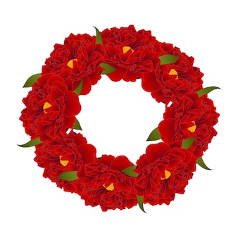 Red peony flower wreath