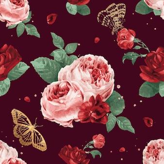 붉은 모란 꽃 벡터 수채화 패턴