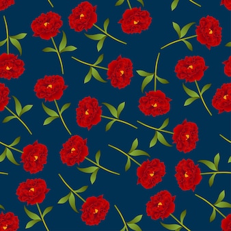Red peony seamless on indigo blue background