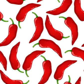 Red pepper vector seamless pattern. mexican chili spicy vegetable. hot paprika texture.