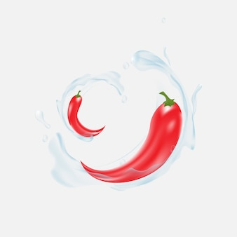 Red pepper with water splashing