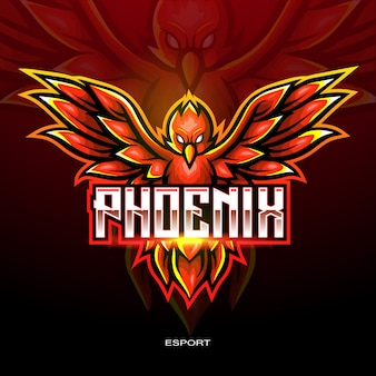Red phoenix esport logo for electronic sport gaming logo.