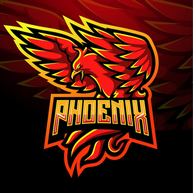 Red phoenix esport logo mascot design