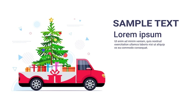 Red pickup car with fir tree and gift present boxes merry christmas happy new year winter holidays