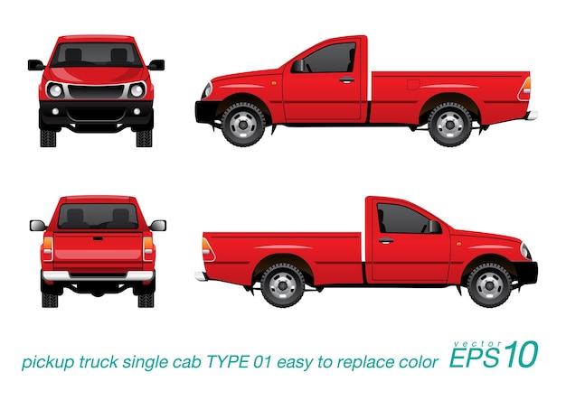 Red pickup single cab