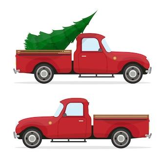 赤いピックアップ。トランクにクリスマスツリーとヴィンテージピックアップ。レトロなクリスマスカー。
