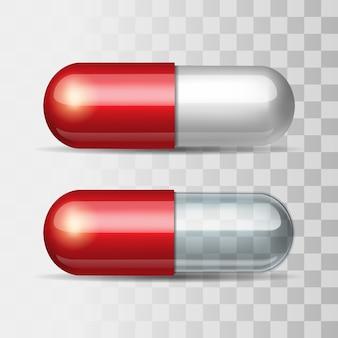 白と透明の赤い錠剤。図