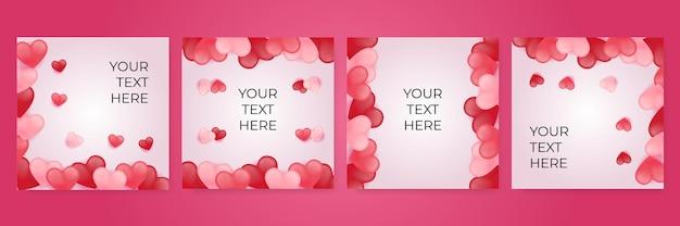 赤、ピンク、白のハートはテンプレートセットが大好きです。バレンタインデーのバナーの紙カット装飾