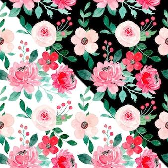 黒と白の側面を持つ赤ピンクの花の水彩画のシームレスなパターン