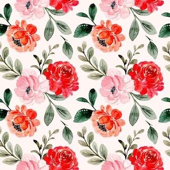 赤ピンク花柄水彩シームレスパターン
