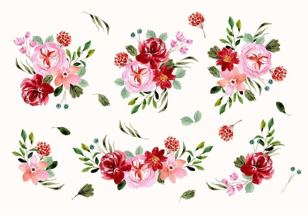 붉은 분홍색 꽃꽂이 수채화 컬렉션
