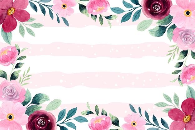 Sfondo fiore rosa rosso con acquerello