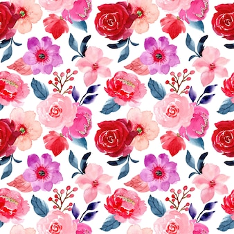 Red pink flower seamless pattern with watercolor