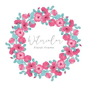 붉은 분홍색 꽃 수채화 프레임 디자인 손으로 분홍색 붉은 꽃 색과 tosca 잎 색 그리기