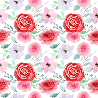 Red pink flower watercolor pattern