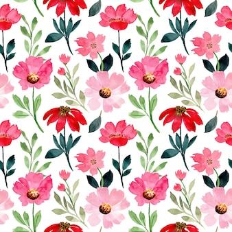 赤ピンクの花の水彩画のシームレスパターン