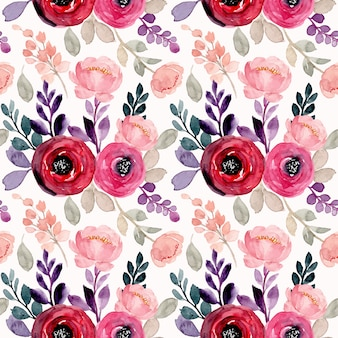 Red pink flower watercolor seamless pattern