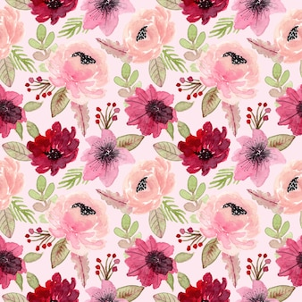 Red and pink flower watercolor seamless pattern