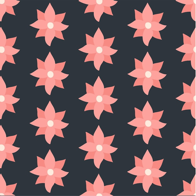 Red pink flowers pattern background floral vector illustration