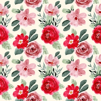 Red pink green flower watercolor seamless pattern