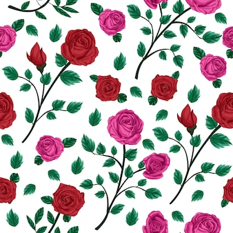Red and pink rose floral flower seamless pattern
