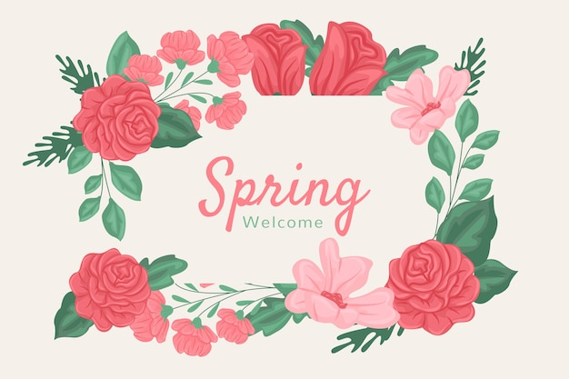 Red and pink spring flowers background