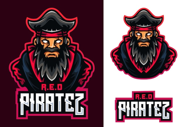Red pirates mascot esport 로고