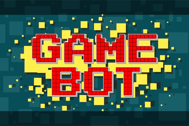 Red pixel retro game bot button for video games