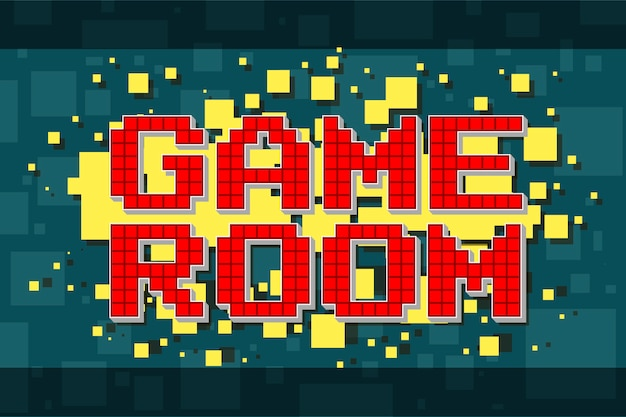 Red pixel retro game room button for video games